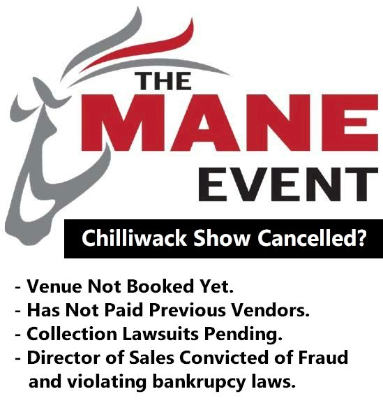Mane Event Expo Horse Show Cancelled: Chilliwack BC | Mane Event | Chilliwack