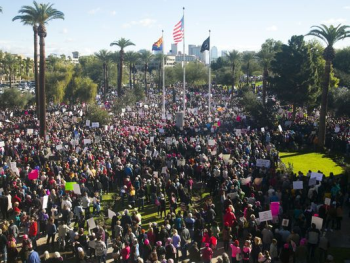 Women's March Arizona State Capitol Protest March Phoenix AZ Sound System Stage